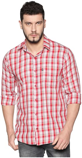 LEVIZO Men Red Checked Regular Fit Casual Shirt