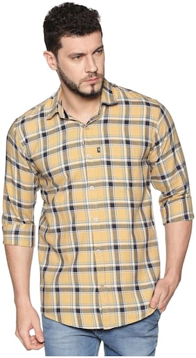 LEVIZO Men Beige Checked Regular Fit Casual Shirt