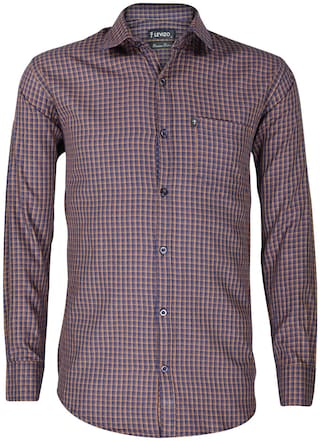 LEVIZO Men Yellow & Blue Checked Regular Fit Casual Shirt