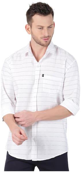 LEVIZO Men White Horizontal Stripes Regular Fit Casual Shirt