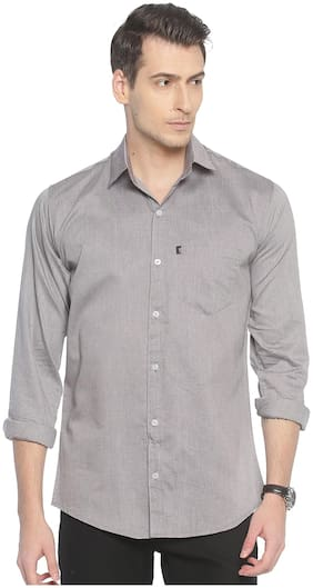 LEVIZO Men Grey Solid Regular Fit Casual Shirt