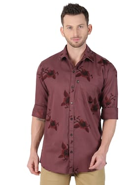 LEVIZO Men Brown Floral Regular Fit Casual Shirt