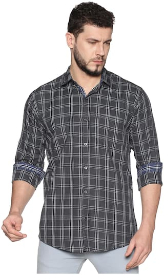 LEVIZO Men Grey Checked Regular Fit Casual Shirt