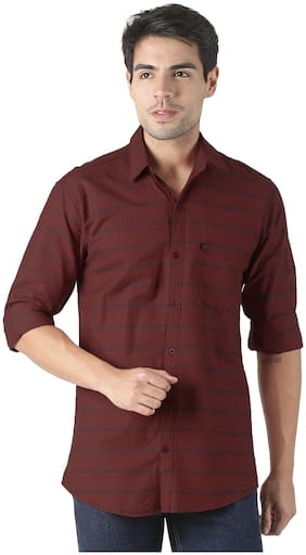 LEVIZO Men Brown Horizontal Stripes Regular Fit Casual Shirt
