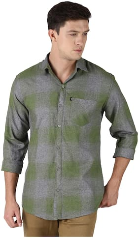 LEVIZO Men Green Faded Regular Fit Casual Shirt