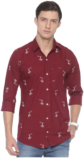 LEVIZO Men Maroon Printed Regular Fit Casual Shirt
