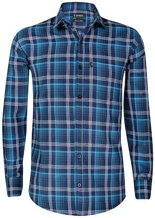 LEVIZO Men Navy Blue Checked Regular Fit Casual Shirt