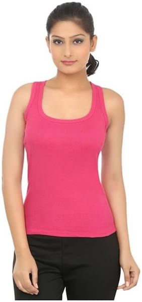 LIAS Women Pink Regular fit U neck Cotton Tank top