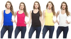 LIAS Women Multi Regular fit U neck Cotton Tank top