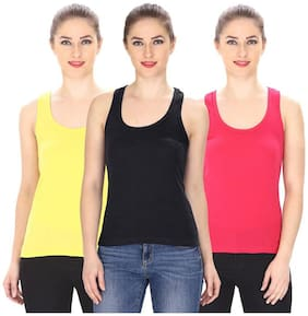 LIAS Women Multi Regular fit Round neck Cotton T shirt