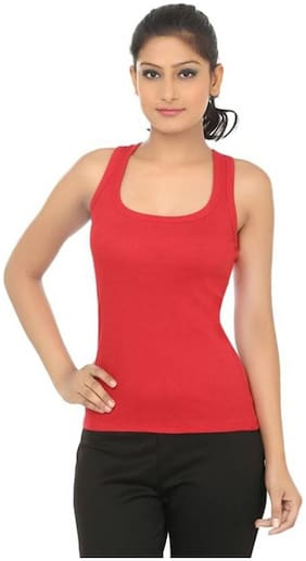 LIAS Women Solid Round neck T shirt - Red