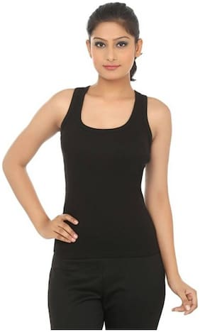 LIAS Women Black Regular fit U neck Cotton Tank top