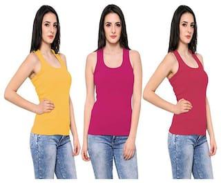 LIAS Women Multi Regular fit U neck Cotton Tank top