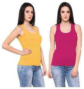LIAS Women Pink & Yellow Regular fit U neck Cotton Tank top