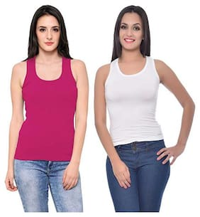 LIAS Women Pink & White Regular fit U neck Cotton Tank top