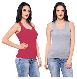 LIAS Women Red & Grey Regular fit U neck Cotton Tank top