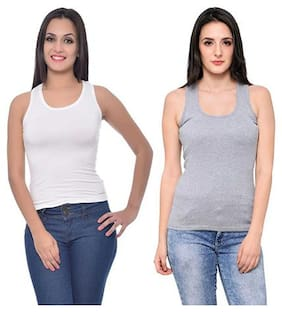 LIAS Women Grey & White Regular fit U neck Cotton Tank top
