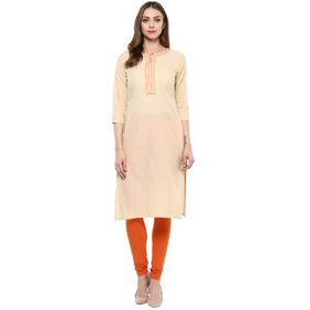 Libas Beige Cotton Solid Kurta