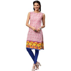 Libas Cotton Pink Straight Printed Kurta