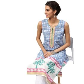 Libas Cotton Blue Straight Printed Kurta