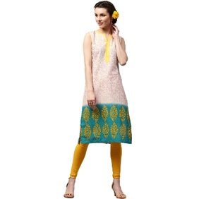 Libas Cotton Cream Straight Printed Kurta