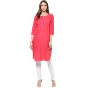 Libas Pink Cotton Solid Kurta