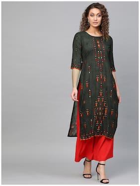 Libas Women Black Printed Straight Kurta