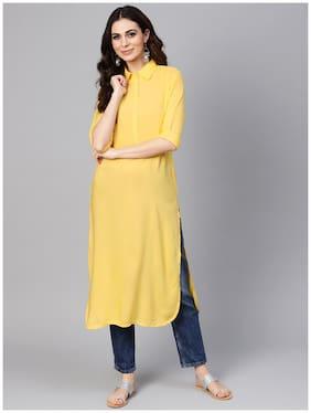 Libas Women Yellow Solid Straight Kurta
