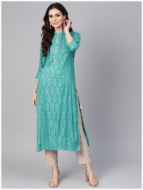 Libas Women Green Printed Straight Kurta