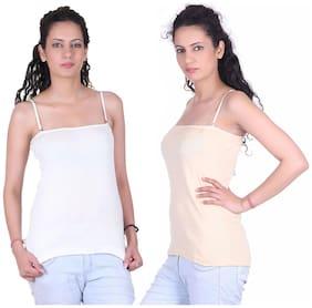 LIENZ White And Cream Cotton Pack Of 2 Camisole Slip