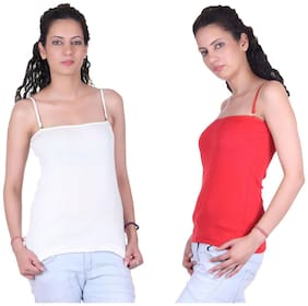 LIENZ White And Red Cotton Pack Of 2 Camisole Slip