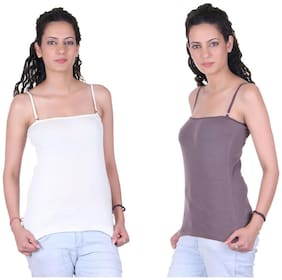 LIENZ White And Brown Cotton Pack Of 2 Camisole Slip