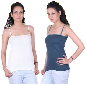 LIENZ White And Blue Cotton Pack Of 2 Camisole Slip
