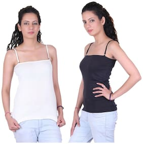 LIENZ White And Black Cotton Pack Of 2 Camisole Slip