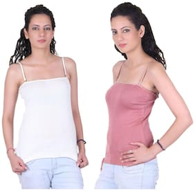 LIENZ White And Pink Cotton Pack Of 2 Camisole Slip