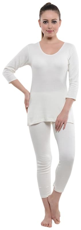 LIENZ Women Cotton Thermal set - White