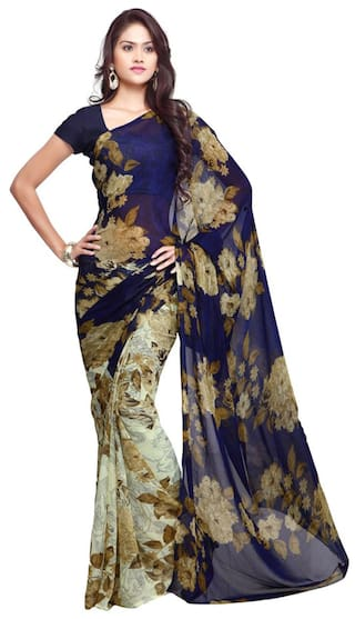 ba75a5e757f Buy Ligalz Blue Printed Semi Chiffon Saree Online at Low Prices in ...