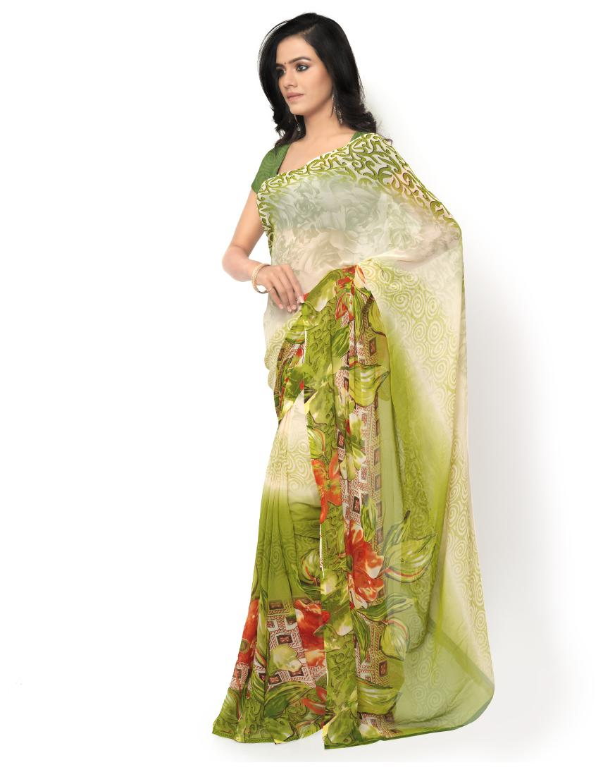 028c4fbc6e0 Buy Ligalz Blue Printed Semi Chiffon Saree Online at Low Prices in India -  Paytmmall.com