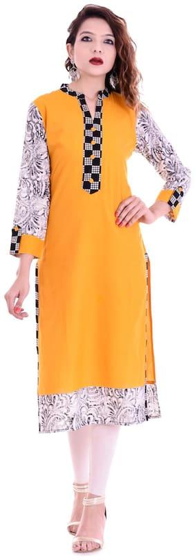 Palakh Women Cotton Solid Straight Kurta - Yellow