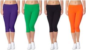 Women Cotton Regular Fit Shorts ,Pack Of 4