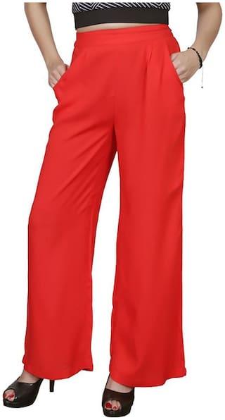 Lili Casual Wear Crepe Designer Plain Wide Leg Palazzo Pants