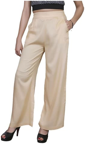 Lili Casual Wear Crepe Designer Plain Wide Leg Palazzo Pants