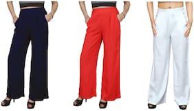 Lili Casual Wear Crepe Designer Plain Wide Leg Palazzo Pants Pack of 3