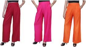 Lili Plain Comfortable Stylish Casual Regular Fit Rayon Palazzo Pants Pack of 3