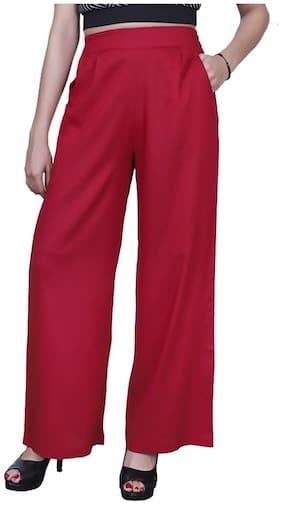 Lili Plain, Comfortable, Stylish, Casual, Regular Fit, Rayon Palazzo Pants