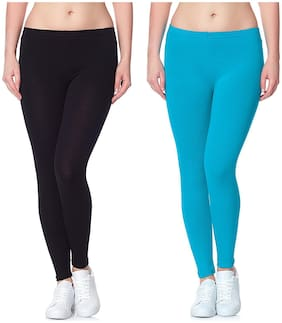 Lili Ultra Super Soft 220 GSM Stretch Bio Wash Ankle Length Leggings Regular Sizes 20 Plus Solid Colors Pack of 86