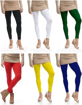 Lili Ultra Soft 160 GSM Stretchable Ankle Length Leggings Pack of 6 (Free Size)