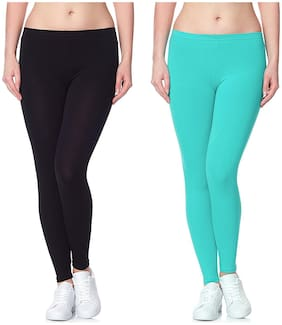 Lili Ultra Super Soft 220 GSM Stretch Bio Wash Ankle Length Leggings Regular Sizes 20 Plus Solid Colors Pack of 95