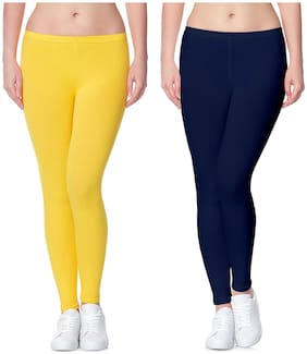 Lili Ultra Super Soft 220 GSM Stretch Bio Wash Ankle Length Leggings Regular Sizes 20 Plus Solid Colors Pack of 271