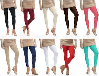 Lili Ultra Soft 160 GSM Stretchable Ankle Length Leggings Pack of 10 (Free Size)